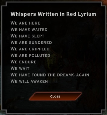 Whispers written in red lyrium